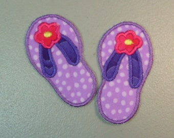 Flip Flops iron on or sew on machine embroidered applique