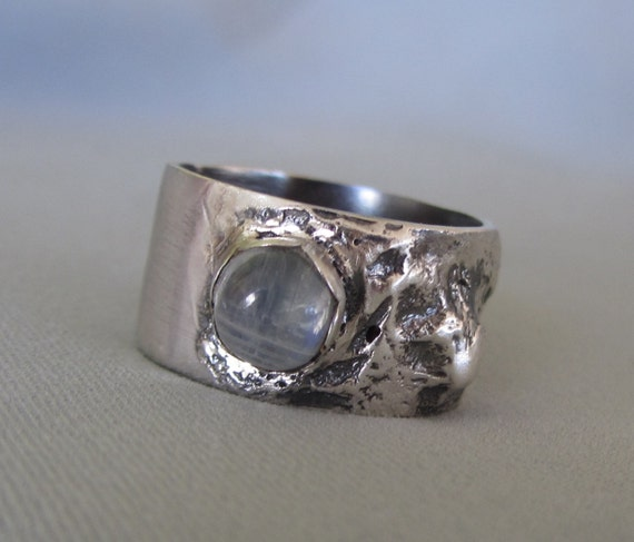 statement moonstone ring unique reticulated silver by bgezunt
