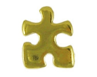 Gold Puzzle Piece Pin- CC372G- Puzzle Piece, Jigsaw Puzzle, Essential Piece, Teamwork Pins