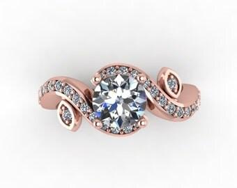 rose gold forever brilliant moissanite engagement  ring , custom made moissanite engagement ring, wedding ring, style 29RGDM