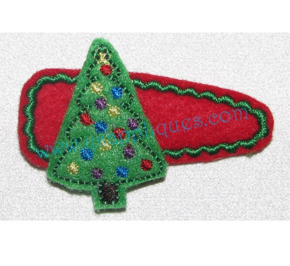 Instant Download - Hair Clippie Designs Christmas Designs Christmas Tree Feltie Clippie Embroidery Outline Design - 1.5 inch and 2 inch