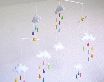 Rain cloud mobile etsy for Unusual baby mobiles