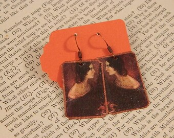 Bronte Sisters earrings, Emily Bronte jewelry, mixed media jewelry