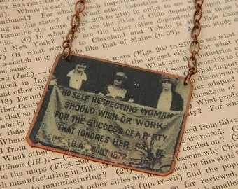 Feminist Necklace or pendant Suffragette necklace mixed media jewelry