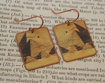 Egyptian earrings Great Pyramid Egypt jewelry mixed media jewelry wearable art