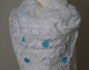 White sewn (crazy wool technique) scarf with turquoise and white crocheted flowersFREE UK SHIPPING