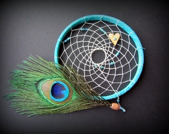 Dream Catcher - Teal - 6 inch hoop - gender neutral - turquoise - dreamcatcher - peacock feather - boho - nursery decor - wingedwhimsy
