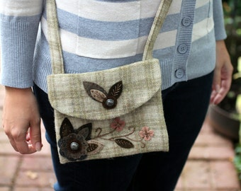 Tan Wool Applique Purse, Small Messenger Bag, One of a Kind