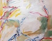 "Landscape 2-2-14b  ... as a vagrant"" series (abstract expressionist painting, blue, pastel, pink, red, yellow, white, cream)"