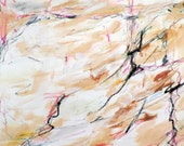 Landscape 3-28-14c  (abstract expressionist painting, pastel, red, yellow, white, brown, tan, cream)