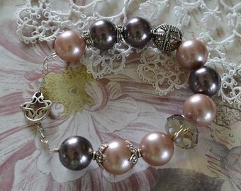GLAM faux pearl, crystal and Bali silver bracelet