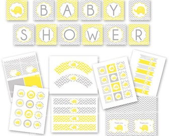 BABY SHOWER ELEPHANT party package yellow and grey chevron