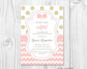 Baby shower girl coral and gold glitter polka dot and chevron printable invitation