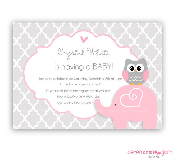 elephant baby shower invitation pink and grey quatrefoil baby shower