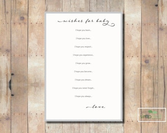 Printable Wishes for Baby Girl A7 - 5x7 Flat Card - Instant Download - 2 Per Page