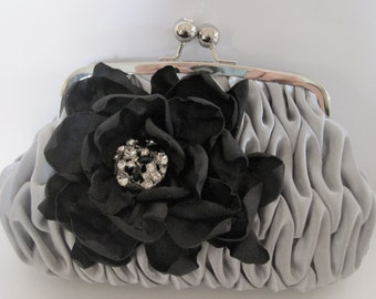 Silver Grey Pleated Satin Clutch with a Black Satin Fabric Flower and Black Rhinestone Accent Bridesmaid Mother of the Bride Prom