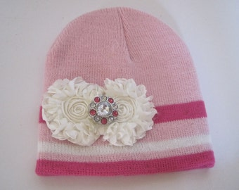 Knit Toddler PInk Striped Beanie with Ivory Satin Flowers and a Pink Rhinestone Accent Toddler Hats Baby Accessories