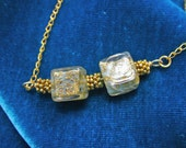 24k gold blue Golden glass murano bead necklace w 18k gp chain w magnetic clasp
