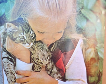 Vintage 1973 Poster by Platt Mfg. Co. Los Angeles, CA  Blonde Girl with Tabby Cat
