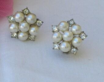 Earrings - Pearls and Rhinestones - June Birthday Gift - Bridal Jewelry - Vintage