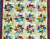 Jewel Tone Batik Pinwheel Handmade Quilt