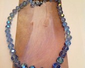 Vintage Baby Blue Crystal Choker Necklace Signed Laguna