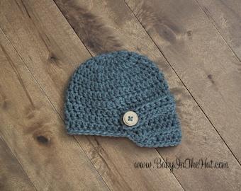 Newborn Dark Gray Newsboy Crochet Hat with Wood Buttons Boys Photo Prop 0-12 Months