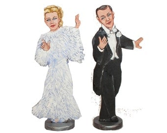 Fred and Ginger Top Hat Hand Painted 2D Art Figurines