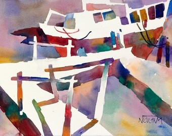 Canadian Marina | Original watercolor painting 11 x 15 inches
