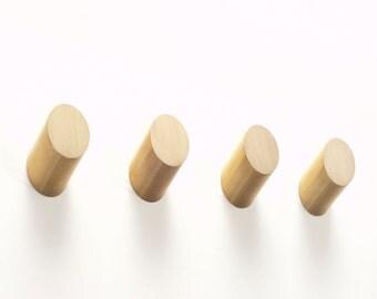Set of 4 Round Brass Hooks - Parallax