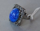 Vintage Czech Glass Ring Blue Art Glass Silver Tone Floral Filigree Adjustable New Old Stock 1950's // Vintage Costume Jewelry