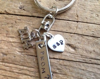 Custom Prom Homecoming Invitation Keychain.  Ask her him to the prom Custom Hand Stamped.  2016 Charm. High School