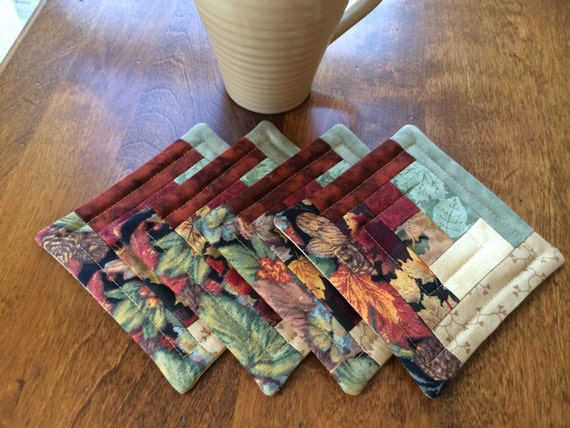 Items Similar To Quilted Log Cabin Coasters With Green