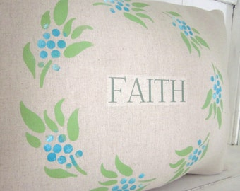 Decorative pillow, faith, inspirational decor, farmhouse decor, accent pillow, throw pillow, burlap pillow, wreath pillow