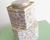 Vintage 1960's Candy Tins / White & Pink Floral Metal Tin Box / Lot of 2 English Tins