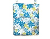 Hanging wet bag turquoise blue yellow grey floral nursery bathroom cloth diapers unpaper towels flap or zipper