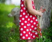 Baby toddler girl dress A line pinafore red and white polka dot dress