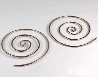 Large Spiral Hoops, Sterling Silver, Made to Order