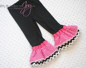 Pink or Red Polka Dot with Black Chevron Minnie Mouse Birthday Double Ruffle Flare Leggings