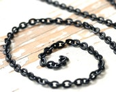 Black Chain Etched Flat Cable Chain 4mm x 5mm Matte Black, Brass Petite Oval Flat Textured Link Cable