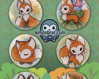 6 Button Set - Kitsune Fox  Set