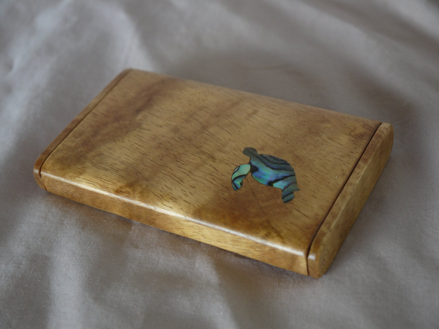Koa Wood Business Card Holder with Turtle shell Inlay