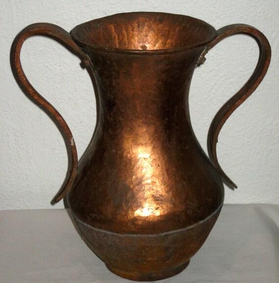 Vintage Signed Hammered Copper Vase Loving Cup Arts And Crafts