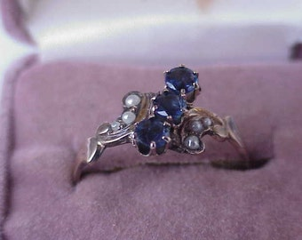 Victorian 12K Gold Genuine Blue Sapphires & Pearl Ring, late 1800s
