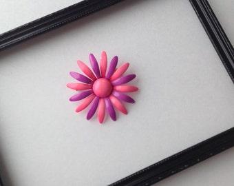 Vintage Metal Flower Brooch, Vintage Pink and Purple Brooch, Floral Vintage Brooch, Vintage Flower Pin, Pink Daisy Metal Flower Pin