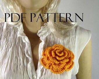 CROCHET Flower PATTERN Rose pattern Brooch Flower Pin Embellishment pdf pattern instant download flowers pattern tutorial