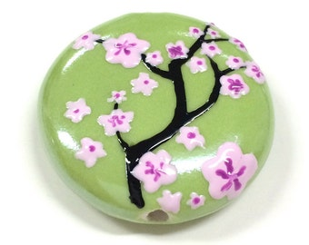 Hand Painted Cherry Blossom Porcelain Pendant ,Round , 28MM +-