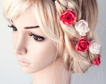 71_Hair rose, Roses, Rose, Hair pins, Hair clips, Flower, Flowers, Hair flowers, Floral, Flower pin, Coral rose, Nude color, Hair piece Hair