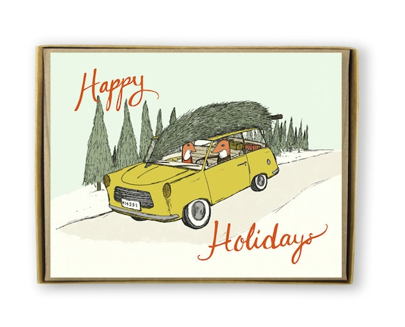 Holiday Card Set - Happy Holidays 2 Foxes, A Car, and A Tree - Hand Drawn Christmas Card Set- yellow, green, blue, Greeting Card
