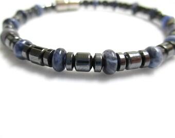 Magnetic Hematite Bracelet, Blue Sodalite Bracelet